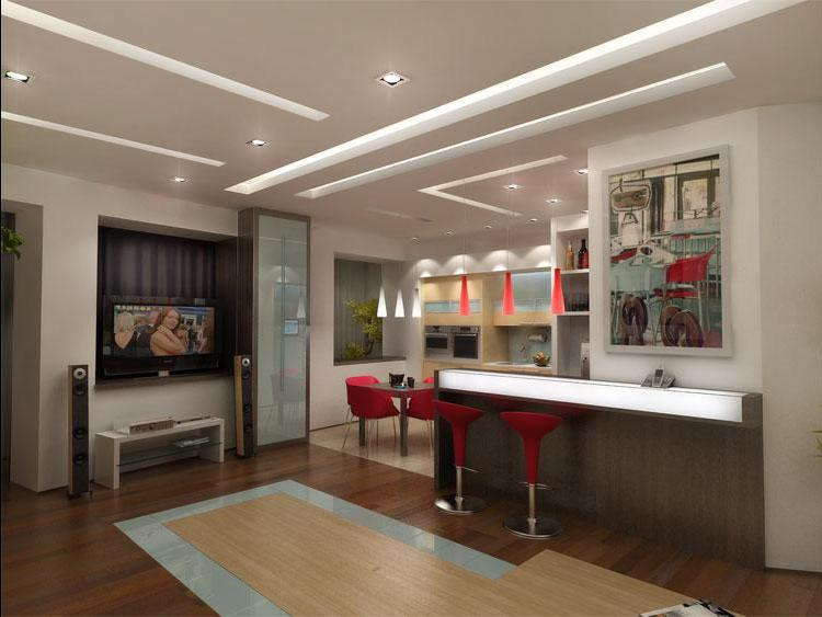 Оформление потолка в кухне и гостиной