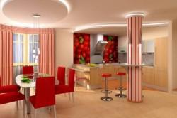 Дизайн потолков для кухни гостиной
