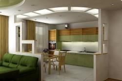 Зонирование кухни и гостиной с помощью напольного покрытия