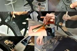 Этапы росписи стола при помощи трафарета