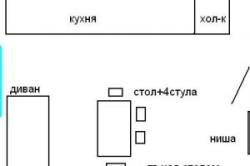 План совмещенной гостиной и кухни с расставленной мебелью