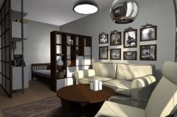Деление спальни-гостиной при помощи освещения