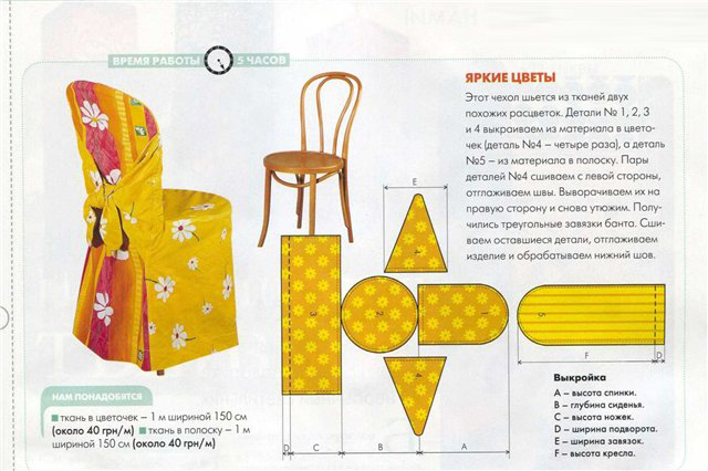 Схема чехла для стула
