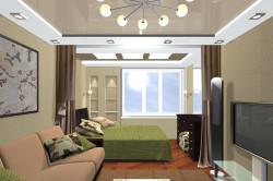 Зонирование спальни-гостиной освещением