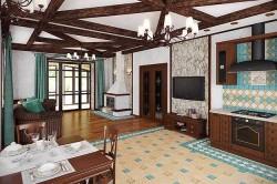 Зонирование кухни с гостиной с помощью покрытия для пола