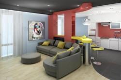 Цветовое решение для кухни с залом