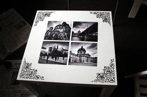 Журнальный столик с монохромными фото и рисунками