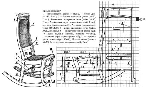 Схема устройства кресла качалки