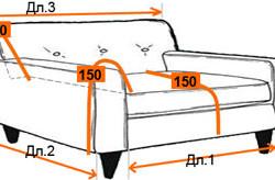 Замеры дивана для изготовления чехла