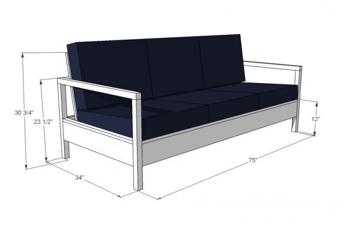 Схема размеров будущего дивана