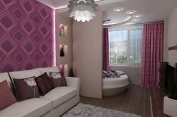 Интерьер спальня + гостиная
