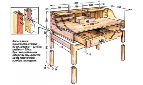 Схема письменного стола своими руками