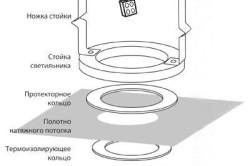 Схема сборки светильника из деревянных колец