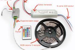 Схема простого подключения RGB-ленты