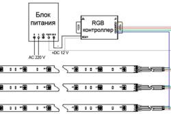 Схема подключения разноцветной (RGB) светодиодной подсветки