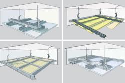 Схема монтажа первого уровня двухуровневого потолка