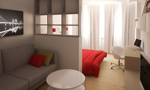 Планировка гостиной-спальни