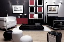 Подбор цвета отделки гостиной под черную мебель