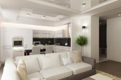 Гостиная-студия с одинаковым цветом мебели