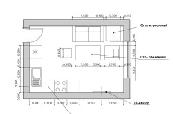 Вариант размещения мебели в гостиной с кухней