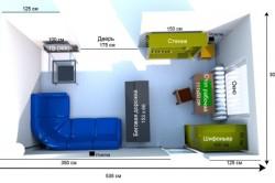Пример расстановки мебели в прямоугольной гостиной