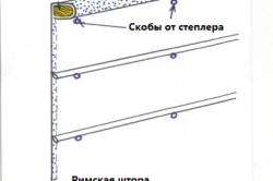 Схема крепления римской шторы при помощи степлера