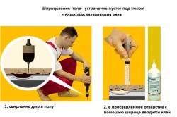 Ремонт пола с помощью клея и шприца