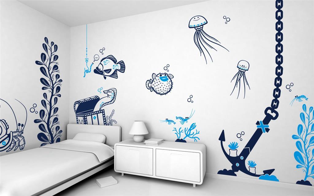 Что можно нарисовать на стене в комнате своими руками фото