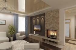Дизайн гостиной с искусственным камином