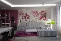 Цветочные обои в интерьере стиля минимализм