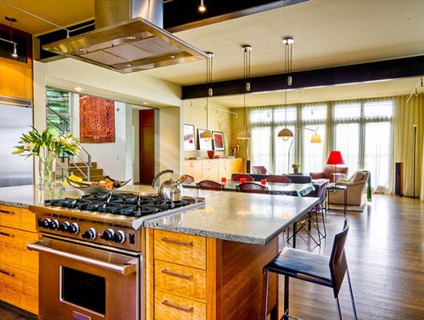 Интерьер кухни и зала, совмещенных вместе