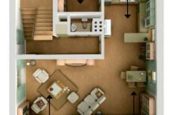 План кухни и гостиной, объединяющей зоны отдыха, приема пищи и приготовления