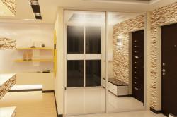 Зонирование гостиной и прихожей напольными покрытиями