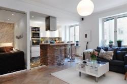 Зонирование зала и кухни