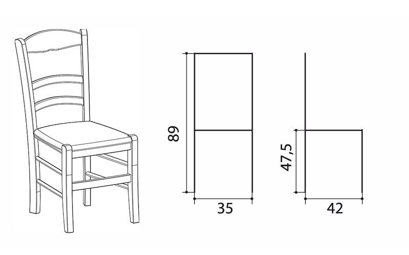 Чертеж деревянного стула