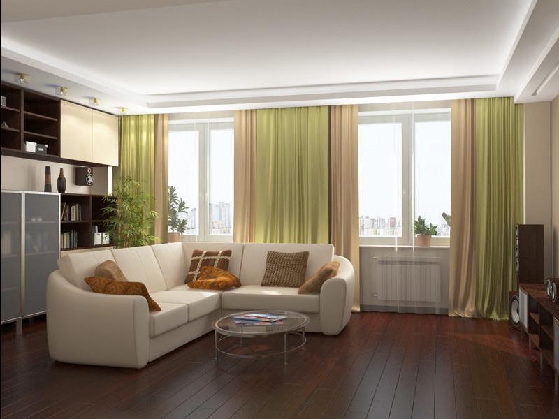 Два окна в комнате интерьер