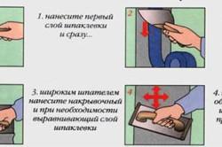 Схема затирки швов шпателем