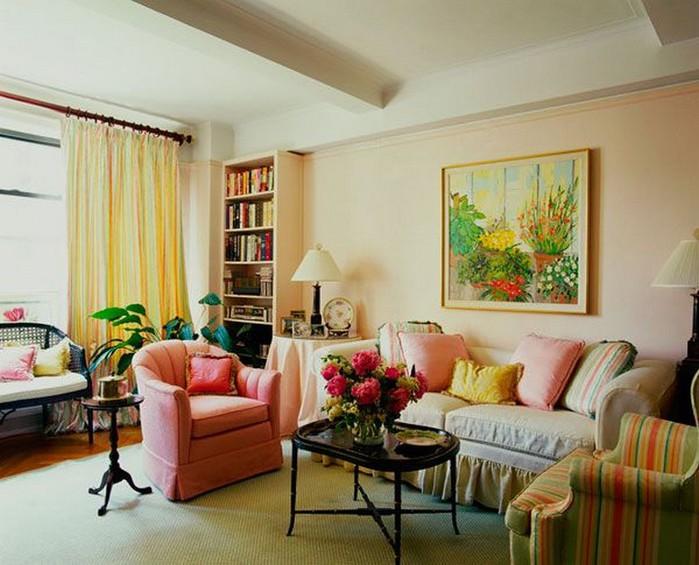 Современный дизайн стен гостиной
