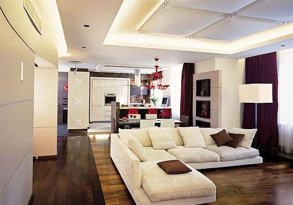 Дизайн гостиной совмещенной с кухней в квартире