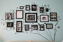 Семейные фотографии на стенах гостиной