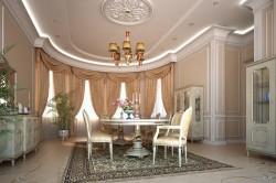 Гостиная с эркером в классическом стиле