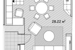 Вариант расстановки мебели в гостиной, совмещенной с кухней