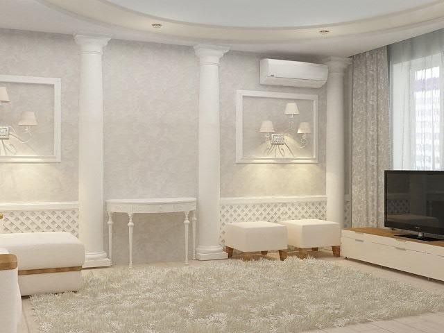 Дизайн стен с молдингами в гостиной