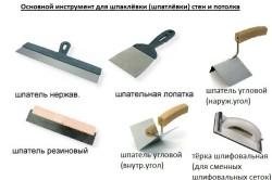 Перечень основного инструмента для шпаклевки стен и потолка