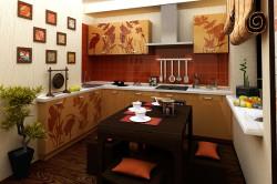 Интерьер совмещенной кухни в японском стиле