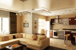 Интерьер уютной кухни гостиной