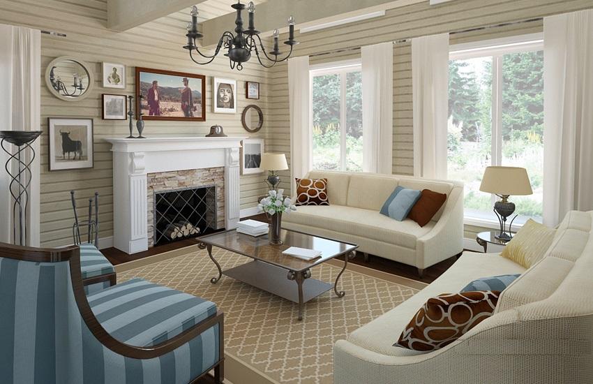 Интерьер гостиной фото в деревянном доме