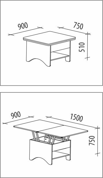 Возможные размеры столика