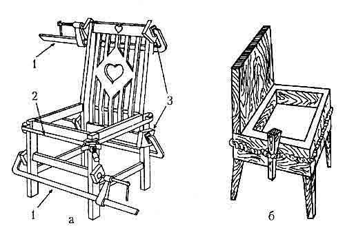Сжатие соединений стульев при склеивании