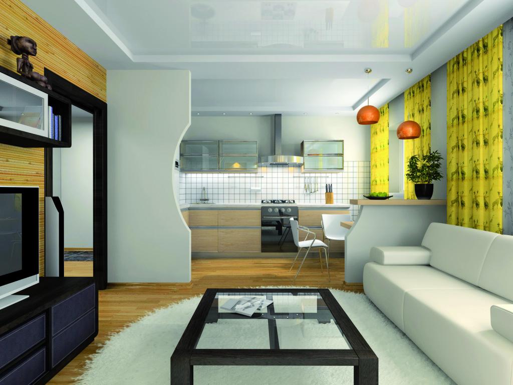 Дизайн маленькой гостиной, объединенной с кухней